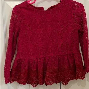 Long sleeve lace top size 18/24m girl